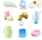 Jogo dos acessórios para a higiene pessoal ilustração do vetor
