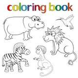 Jogo dos animais para o livro para colorir ilustração do vetor
