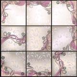 Jogo dos cartões com fundo floral do vetor Fotos de Stock Royalty Free