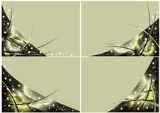 Jogo dos cartões com projeto do Natal do vetor do ouro Fotos de Stock Royalty Free