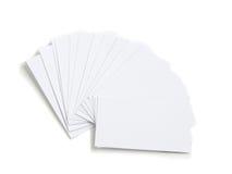 Jogo dos cartões vazios brancos imagens de stock royalty free