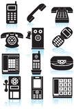 Jogo dos ícones do telefone - preto e branco Fotos de Stock