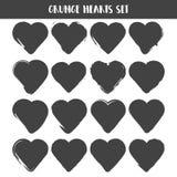Jogo dos corações Coleção de selos do Grunge formas do amor para seu projeto Símbolos afligidos Sinais Textured do dia de Valenti Foto de Stock Royalty Free