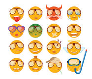 Jogo dos emoticons Ícone de dezesseis sorrisos Emojis amarelos Foto de Stock Royalty Free