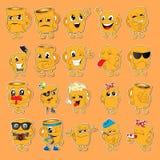 Jogo dos emoticons Grupo de Emoji Ícones do sorriso Imagens de Stock Royalty Free