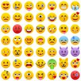 Jogo dos emoticons Grupo de Emoji Ícones do sorriso Ilustração isolada do vetor no fundo branco Imagem de Stock