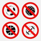 Jogo dos esportes do sinal da proibição, nenhum jogo, basquetebol do jogo, futebol ilustração stock