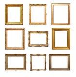 Jogo dos frames do vintage isolados no branco Imagens de Stock