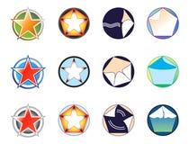 Jogo dos logotipos com base na estrela e no círculo   Imagem de Stock