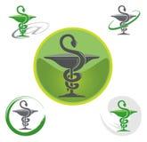 Jogo dos logotipos com símbolo do Caduceus Imagens de Stock
