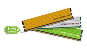 Jogo dos módulos da memória DDR3 Fotos de Stock Royalty Free