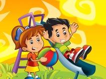 Jogo dos miúdos dos desenhos animados Imagens de Stock