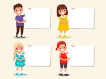 Jogo dos moldes As crianças guardam uma placa Ilustração do vetor ilustração royalty free