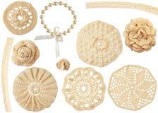 Jogo dos motivos handmade do crochet isolados no branco Fotografia de Stock Royalty Free