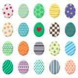 Jogo dos ovos de easter isolados no fundo branco Ovos coloridos diferentes com listras, pontos, corações e testes padrões Vetor ilustração do vetor