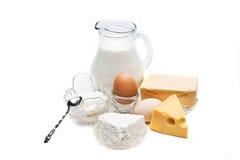 Jogo dos produtos lácteos Fotografia de Stock Royalty Free