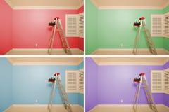 Jogo dos quartos vazios pintados na variedade de cores Fotografia de Stock