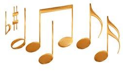 Jogo dos símbolos da nota musical do teste padrão do ouro isolados Imagens de Stock