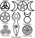 Jogo dos símbolos de Wiccan ilustração royalty free