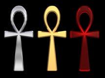 Jogo dos símbolos do ankh isolados no preto. Fotos de Stock