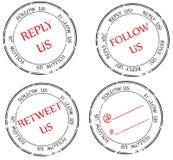Jogo dos selos ao Twitter: siga, responda, retweet ilustração stock