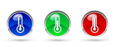 Jogo dos termômetros verde azul e vermelho Fotografia de Stock Royalty Free