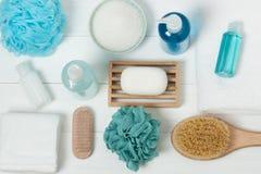 Jogo dos termas Champô, barra do sabão e líquido Gel do chuveiro Aromaterapia Imagem de Stock