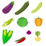Jogo dos vegetais Alimento saudável do vegetariano orgânico isolado no fundo branco Vetor ilustração royalty free