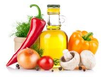 Jogo dos vegetais e da especiaria para o cozimento do alimento Fotos de Stock Royalty Free