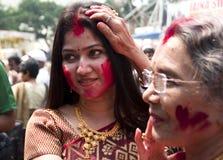 Jogo dos vermelhões (khela de Sindur) Imagens de Stock Royalty Free