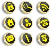 Jogo dourado do ícone do Web do computador Fotografia de Stock Royalty Free