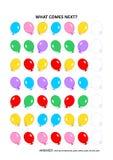 Jogo educacional com balões - reconhecimento de padrões sequencial da lógica ilustração do vetor