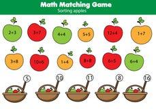 Jogo educacional da matemática para crianças Atividade de harmonização da matemática contando o jogo para miúdos Fotografia de Stock Royalty Free