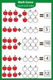 Jogo educacional da matemática para crianças Contando equações Folha da adição Fotografia de Stock Royalty Free