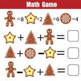 Jogo educacional da matemática para crianças Equações de contagem matemáticas Natal, tema dos feriados de inverno ilustração stock