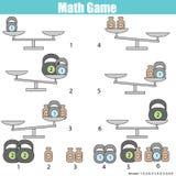 Jogo educacional da matemática para crianças equilibre a escala Imagem de Stock Royalty Free