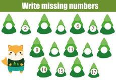 Jogo educacional da matemática para crianças Escreva os números faltantes ilustração royalty free