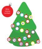 Jogo educacional da matemática para crianças Escreva os números faltantes Natal, divertimento do tema do ano novo para crianças ilustração do vetor