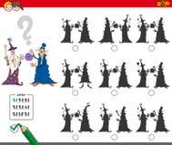 Jogo educacional da sombra com feiticeiros ilustração royalty free