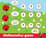 Jogo educacional das crianças Contando o jogo A matemática caçoa a atividade Quantos objetos se encarregam ilustração royalty free