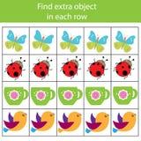 Jogo educacional das crianças Jogo da lógica Encontre o objeto extra na fileira O que não cabe o tipo ilustração do vetor
