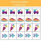 Jogo educacional das crianças Jogo da lógica Encontre o objeto extra na fileira O que não cabe o tipo ilustração royalty free