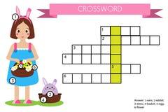 Jogo educacional das crianças das palavras cruzadas com resposta Tema de Easter Imagem de Stock