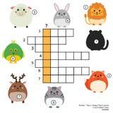 Jogo educacional das crianças das palavras cruzadas com resposta Tema dos animais Aprendendo o vocabulário Foto de Stock Royalty Free