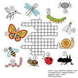 Jogo educacional das crianças das palavras cruzadas com resposta Tema dos insetos Fotos de Stock Royalty Free