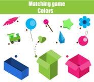 Jogo educacional das crianças Folha do jogo de harmonização para crianças Fósforo pela cor Classificando objetos para crianças Imagens de Stock Royalty Free
