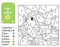 Jogo educacional das crianças Página da coloração com pato Cor por números, atividade imprimível ilustração stock