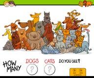 Jogo educacional de quantos cães e gato Fotos de Stock Royalty Free