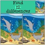 Jogo educacional: Diferenças do achado Dois selos bonitos pequenos Imagem de Stock Royalty Free