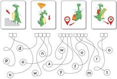 Jogo educacional do enigma com dragão Encontre as palavras escondidas Imagens de Stock